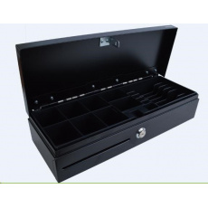 Virtuos pokladní zásuvka FT-460C1; Flip top, bez víka, 9-24V, černá - s kabelem